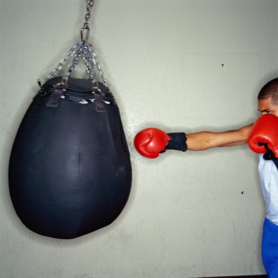 Different sizes, shapes and weights of punching bags are available.