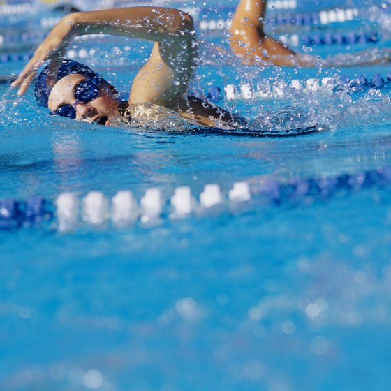 The freestyle swimming stroke is fast and burns many calories.
