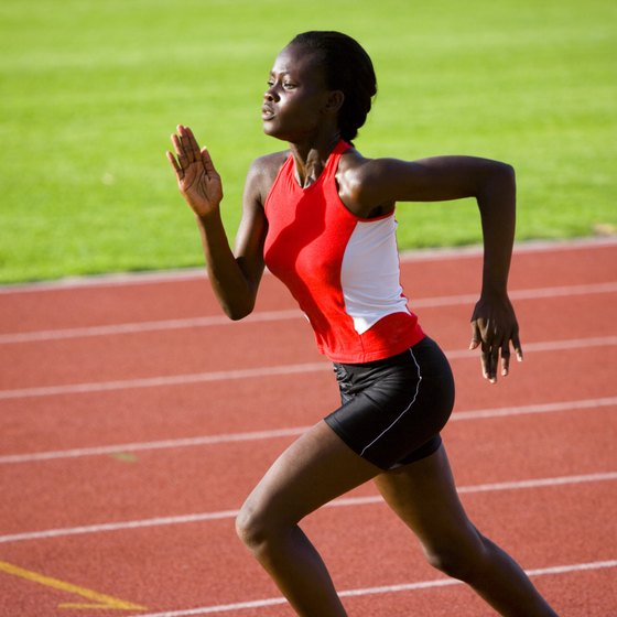 Effective sprinters are relaxed and continually accelerate toward the finish line.