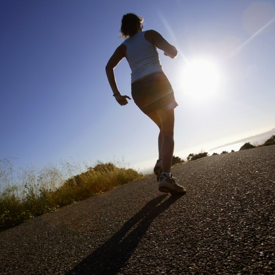 Running burns calories for total fat loss.