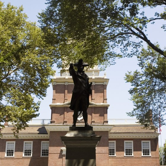 Independence Hall in Philadephia is about 20 miles south of Blue Bell, Pennsylvania.