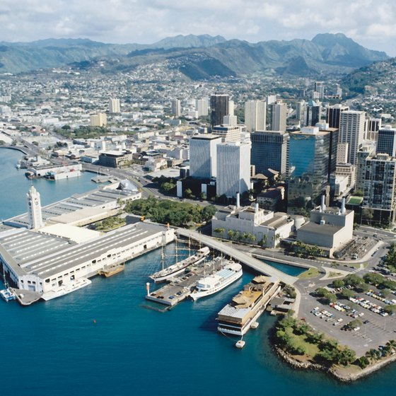 Downtown Honolulu with the Aloha Tower in the forefront.