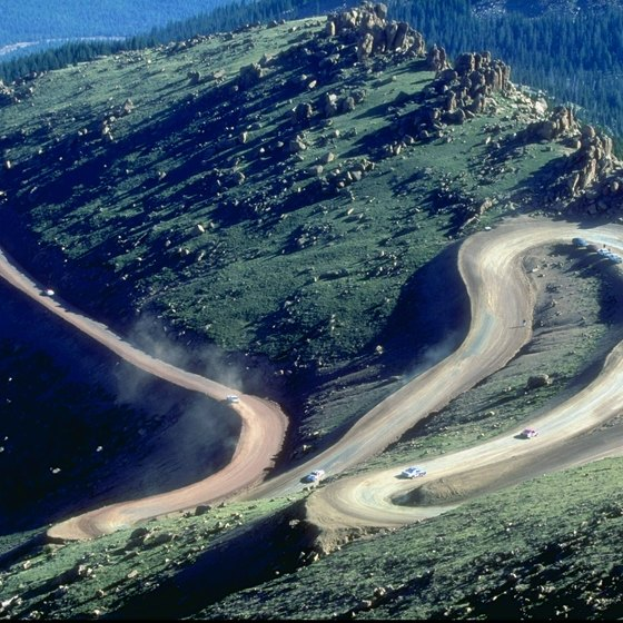 The Pikes Peak Highway twists its way up the mountain.