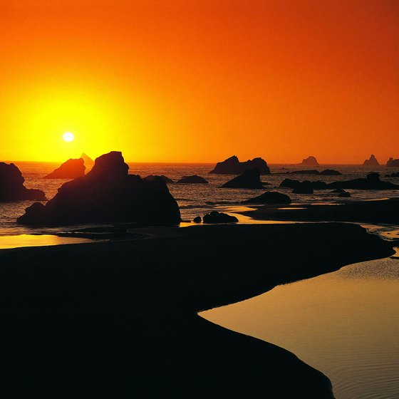 Sunset at Harris Beach State Park campground near the California-Oregon border.