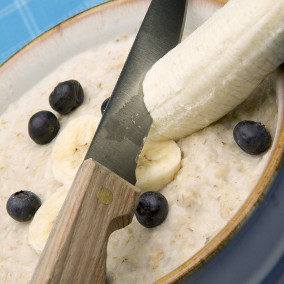Oatmeal with banana makes a nutritious breakfast.