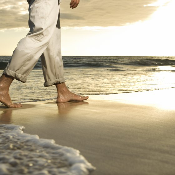 Pretend you're walking on the sand when you walk barefoot.