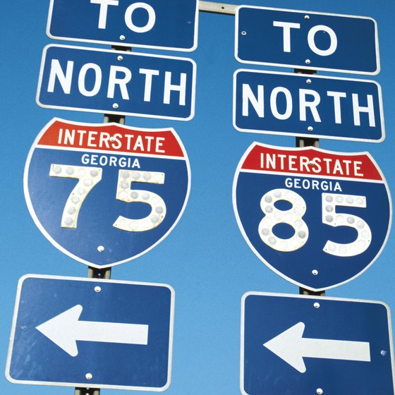 Interstate 75 runs in a north/south direction all the way through Georgia, including Macon.