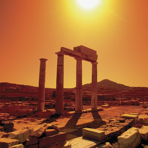 Sun blazes on the ancient site of Delos in the Cyclades.