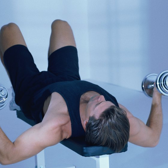 Dumbbell flyes and incline bench press create a challenging super set.