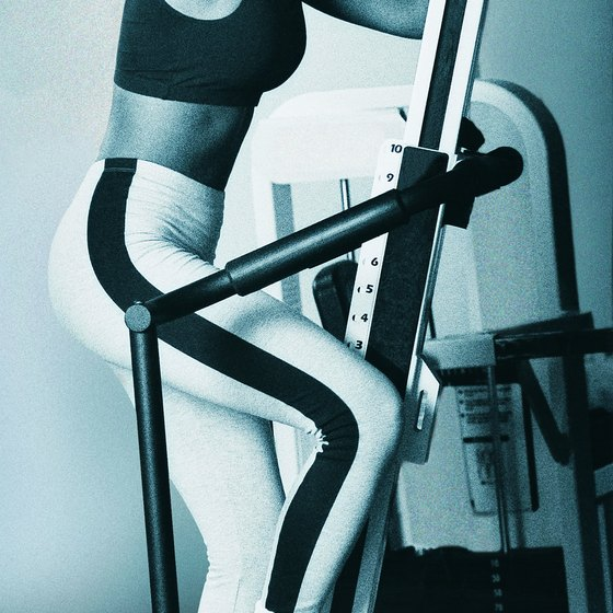 A stair treadmill targets muscles in the core and lower body.