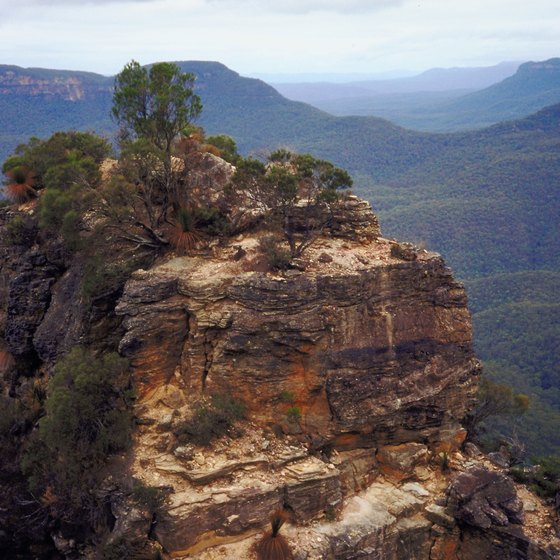 The Blue Mountains represent the scarp of a sandstone plateau.