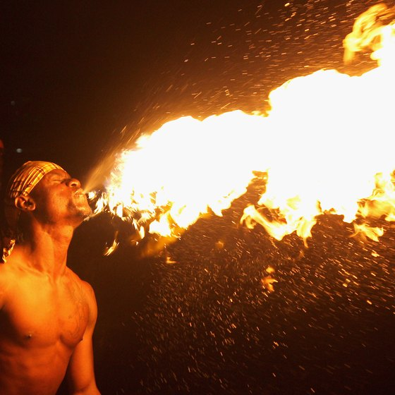 Firebreathers entertain guests at a Montego Bay, Jamaica, resort.