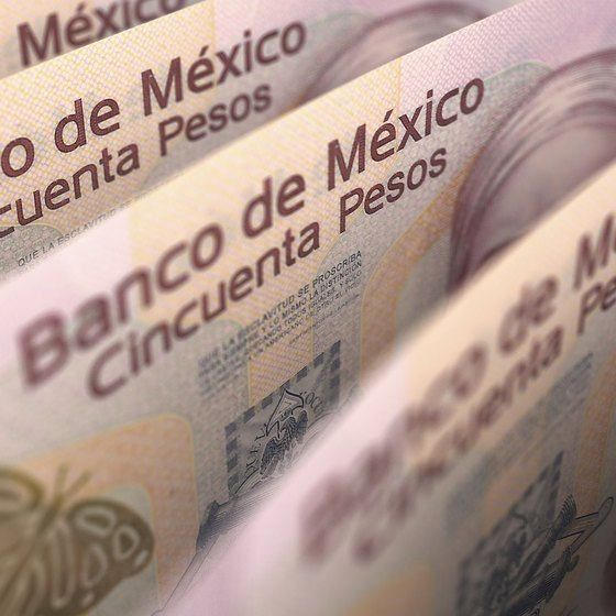 Close-up of Mexican pesos
