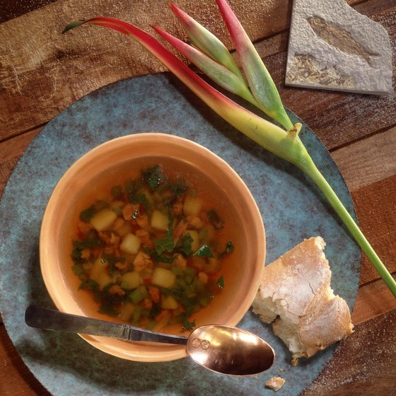 Starting your meal with a broth-based soup is a strategy of the Volumetrics Diet .
