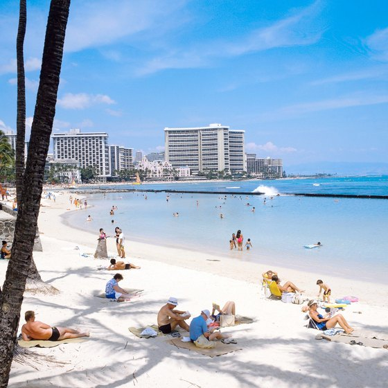 The gentle surf of Waikiki Beach is ideal for swimmers and bodysurfers.