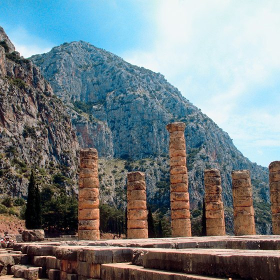 The ancient site of Delphi sits under the crags of Mount Parnassus.