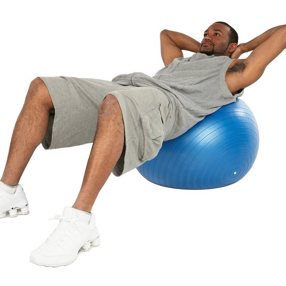Stability ball crunches will challenge your abs.