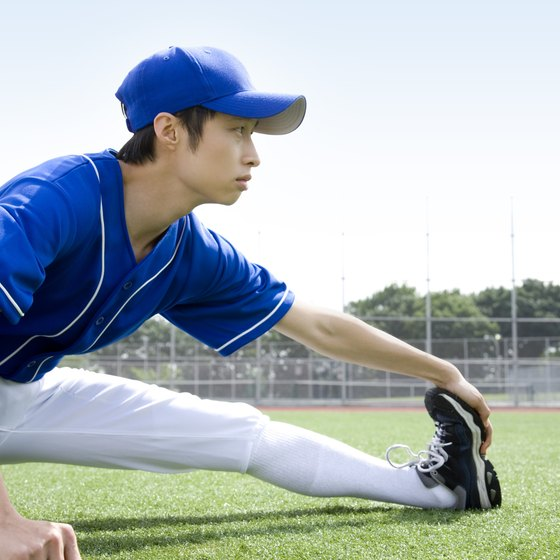 A stretching routine helps you warm up for a baseball game.