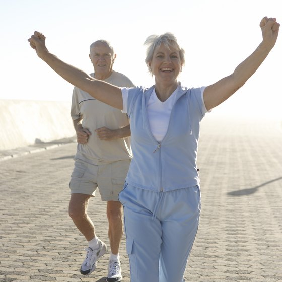Healthy women in their 70s can enjoy the benefits of regular exercise.