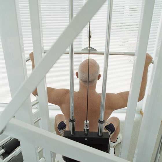 The lat pulldown is a common gym machine.