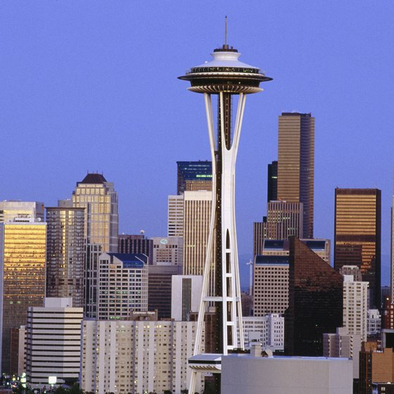 The Space Needle looms over the Seattle skyline.