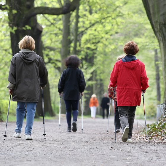 Weekly aerobic activity such as walking with poles can burn fat.