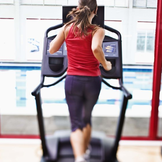 Many people walk or run on treadmills to keep in shape.