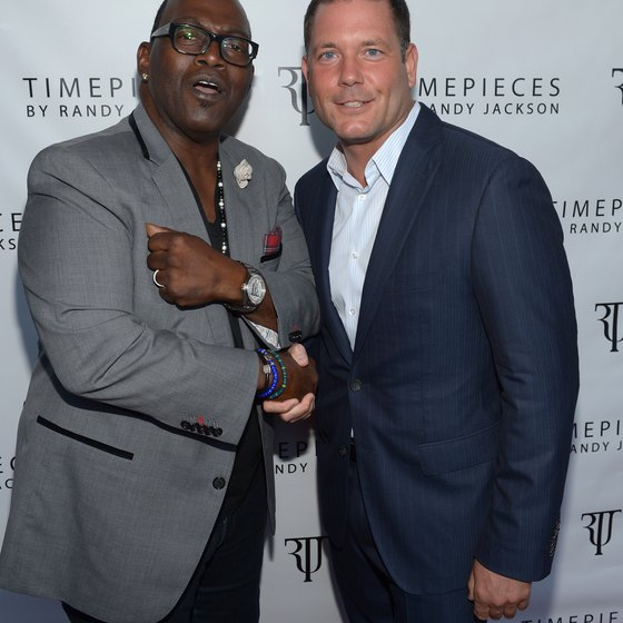 Television's Randy Jackson poses with HSN's John Bosco at a product launch.