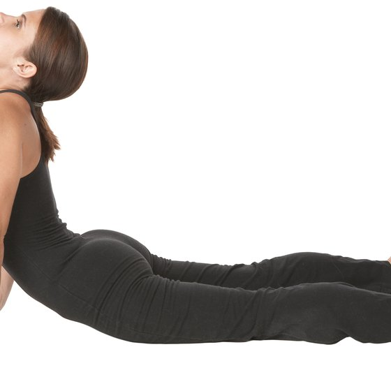 Raise your torso from a horizontal position in the Cobra pose.