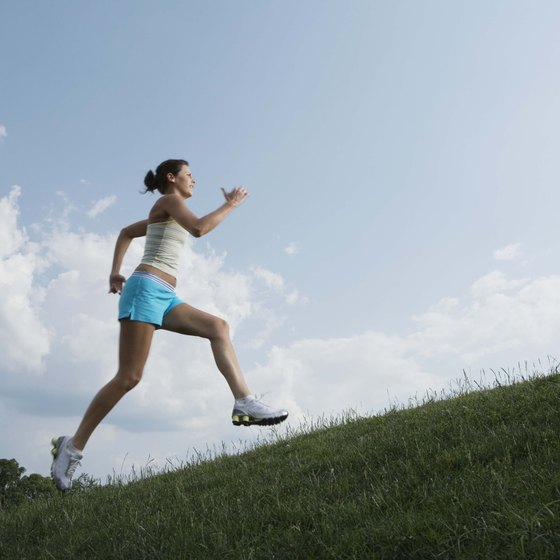 Bounding uphill with an exaggerated stride enhances your running abilities.