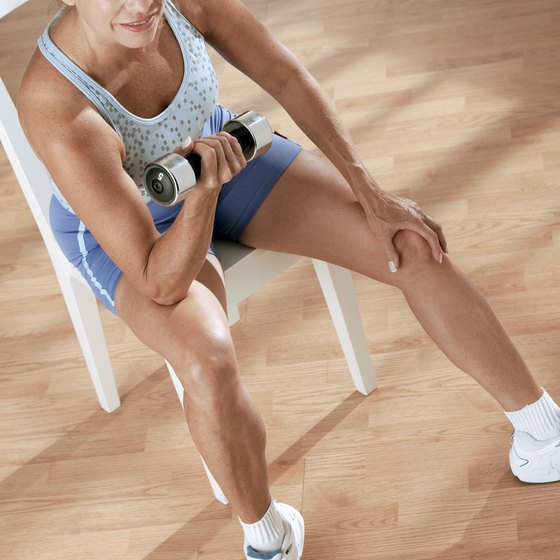 Tone and strengthen muscles with 5-pound dumbbells.