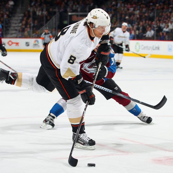 Elite hockey players such as Teemu Selanne display impressive athletic skills on the ice.