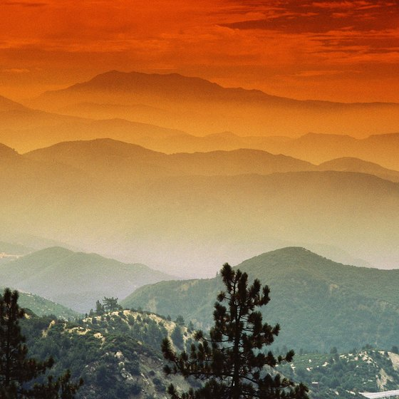 The sun sets in the San Bernardino Mountains, home to Lake Gregory.
