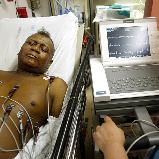 Man receiving an EKG reading