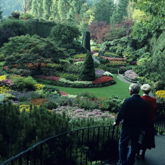 Vibrant colors bloom throughout Butchart Gardens during spring and summer.