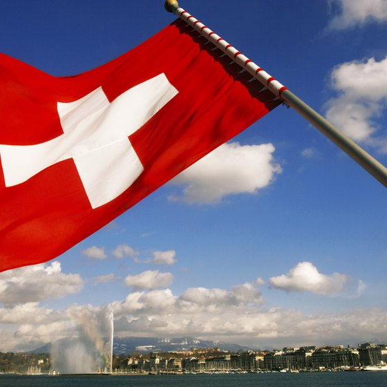 Geneva, Switzerland behind Swiss Flag