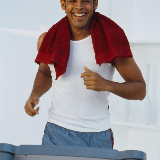 Happy on a treadmill.