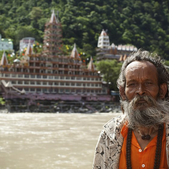 Portrait of a local man in from of the Ganges.