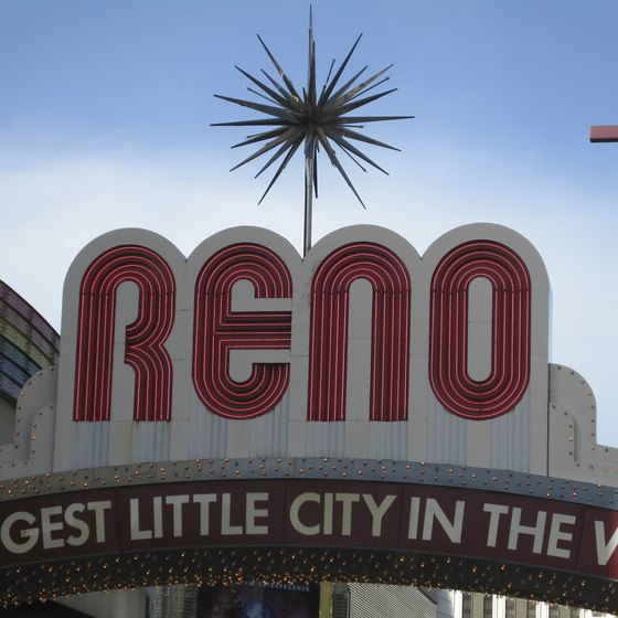 "The Reno Arch, emblazed with the words ""The Biggest Little City in the World,"" straddles Virginia Street in downtown Reno."