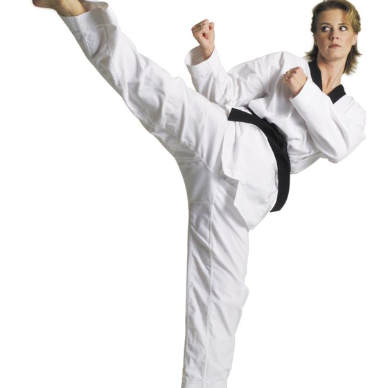 The belt color in karate gets darker with each skill level.
