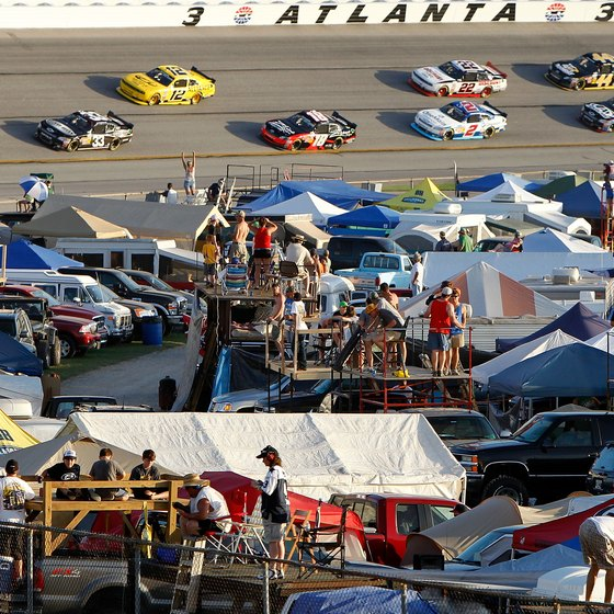 Camping is available in the infield during NASCAR weekends at Atlanta Motor Speedway.