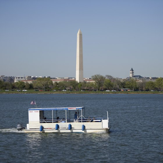 The Potomac River flows past the Washington Monument.