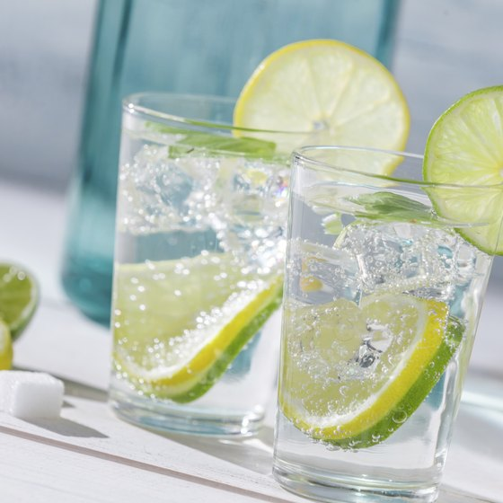 Two glasses of water with lime.