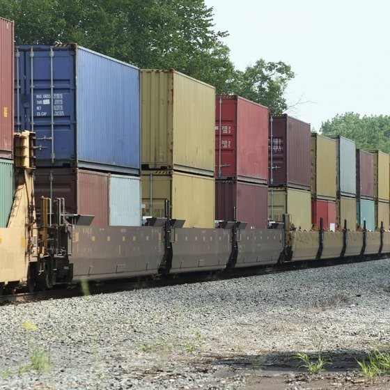 Freight train moving in rural area