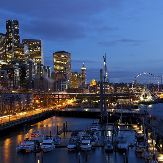 Seattle's Bell Harbor Marina near Pier 66 at night