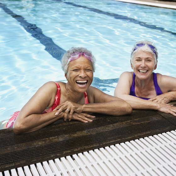 A water aerobics class can combine exercise with time for socializing.