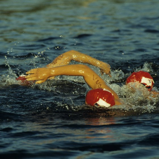The open-water swim starts the triathlon.