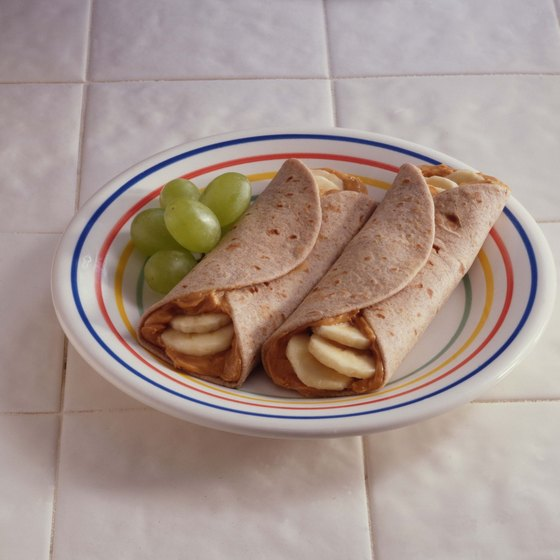 Peanut butter and banana tortillas make a healthy, protein-rich snack.