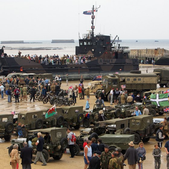 Normandy beach regularly hosts re-enactment events annually on June 6, D-Day.