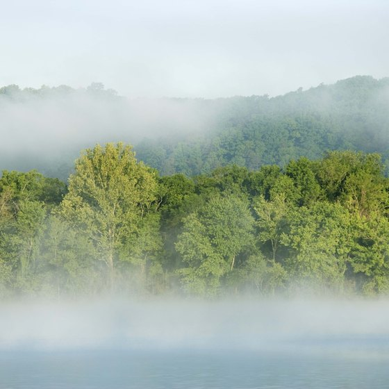 A morning mist hovers over the Tennessee River in Alabama.